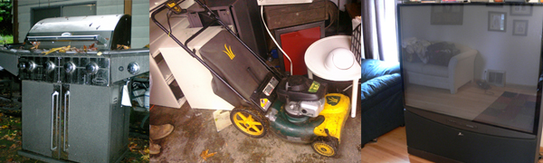 tv, lawn mower and bbq pick up